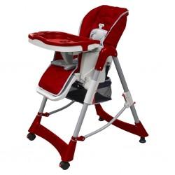 stradeXL Luksusowe krzesełko do karmienia, regulacja wysokości, czerwone