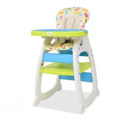 stradeXL Krzesełko do karmienia 3w1 ze stolikiem, niebieski i zielony