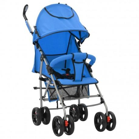 stradeXL Składany wózek spacerowy 2-w-1, niebieski, stal