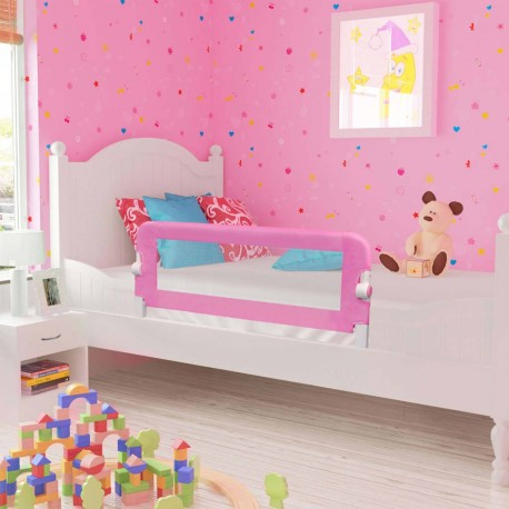 stradeXL Barierka do łóżeczka dziecięcego, różowa, 120x42 cm, poliester
