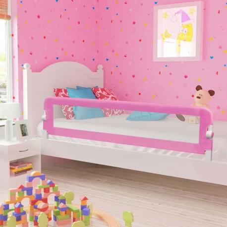 stradeXL Barierka do łóżeczka dziecięcego, różowa, 180x42 cm, poliester