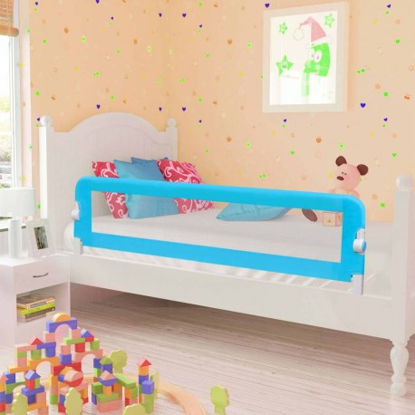 stradeXL Barierka do łóżeczka dziecięcego, niebieska 120x42 cm poliester
