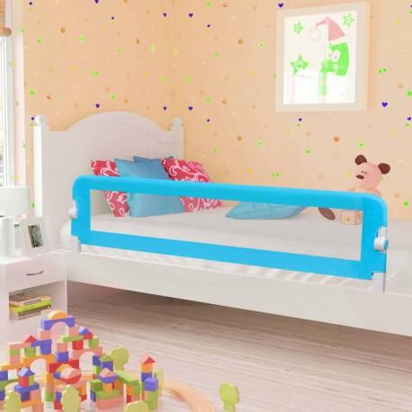 stradeXL Barierka do łóżeczka dziecięcego, niebieska 180x42 cm poliester