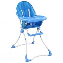 stradeXL Krzesełko do karmienia dzieci, niebiesko-białe