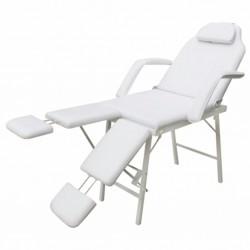 stradeXL Przenośny fotel kosmetyczny, ekoskóra, 185 x 78 x 76 cm, biały