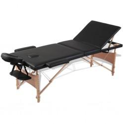 Czarny składany stół do masażu 3 strefy z drewnianą ramą