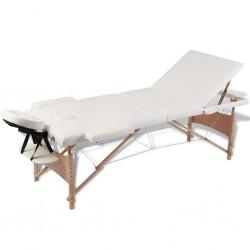 Kremowy składany stół do masażu 3 strefy z drewnianą ramą