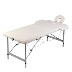 stradeXL Składany stół do masażu z aluminiową ramą, 2 strefy, kremowy