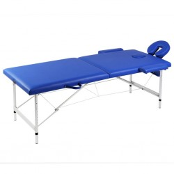 stradeXL Składany stół do masażu z aluminiową ramą, 2 strefy, niebieski