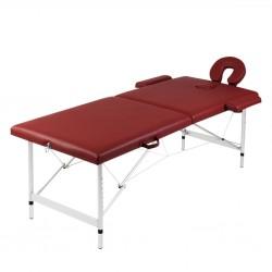 stradeXL Składany stół do masażu z aluminiową ramą, 2 strefy, czerwony