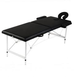 stradeXL Składany stół do masażu z aluminiową ramą, 2 strefy, czarny