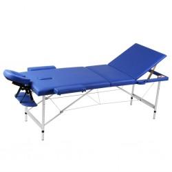 Niebieski składany stół do masażu 3 strefy z aluminiową ramą