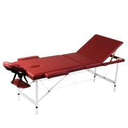 Czerwony składany stół do masażu 3 strefy z aluminiową ramą