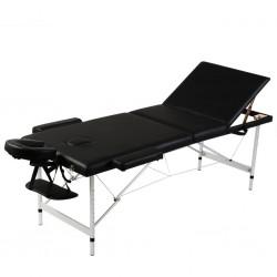 stradeXL Składany stół do masażu z aluminiową ramą, 3 strefy, czarny