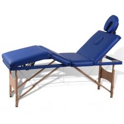 Niebieski składany stół do masażu 4 strefy z drewnianą ramą
