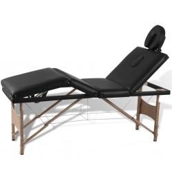 Czarny składany stół do masażu 4 strefy z drewnianą ramą