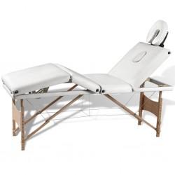 Kremowo-biały składany stół do masażu 4 strefy z drewnianą ramą