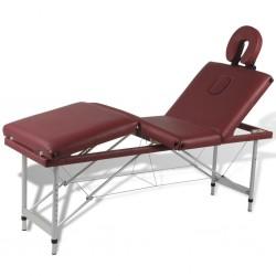 Czerwony składany stół do masażu 4 strefy z aluminiową ramą