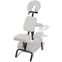 stradeXL Fotel do masażu, składany i przenośny, biały