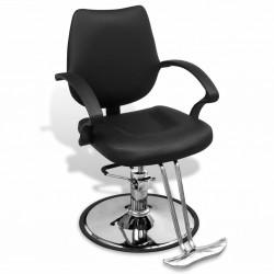 stradeXL Profesjonalny fotel fryzjerski, sztuczna skóra, czarny
