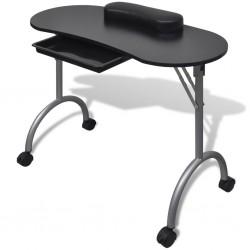 stradeXL Składany stolik do manicure, czarny z kółeczkami