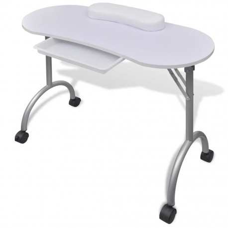 stradeXL Składany stolik do manicure z kółeczkami, biały
