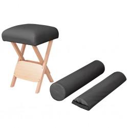 stradeXL Składany stołek do masażu z 2 wałkami, grubość siedziska 12 cm