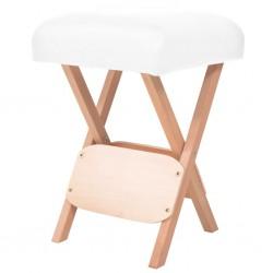 stradeXL Składany stołek do masażu, grubość siedziska 12 cm, biały
