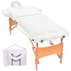 stradeXL Składany stół do masażu, dwuczęściowy, grubość 10 cm, biały
