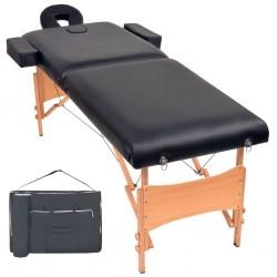 stradeXL Składany stół do masażu, dwuczęściowy, grubość 10 cm, czarny
