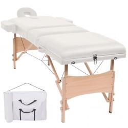 stradeXL Składany stół do masażu, trzyczęściowy, grubość 10 cm, biały