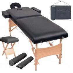 stradeXL Składany stół do masażu i stołek, dwuczęściowy, grubość 10 cm