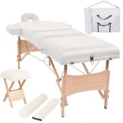 stradeXL Składany, trzyczęściowy stół do masażu ze stołkiem, biały