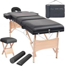 stradeXL Składany stół do masażu i stołek, trzyczęściowy, grubość 10 cm