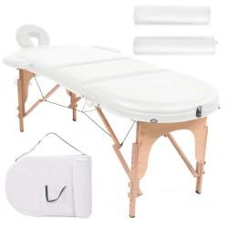 stradeXL Składany stół do masażu z 2 wałkami, grubość 4 cm, biały