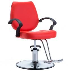 stradeXL Fotel barberski ze sztucznej skóry, czerwony