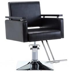 stradeXL Fotel barberski ze sztucznej skóry, czarny