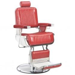 stradeXL Fotel barberski, czerwony, 68x69x116 cm, sztuczna skóra