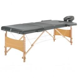 stradeXL Stół do masażu z 3 strefami, drewniana rama, antracyt, 186x68cm