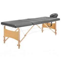 stradeXL Stół do masażu z 4 strefami, drewniana rama, antracyt, 186x68cm