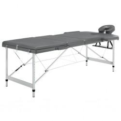 stradeXL Stół do masażu, 3 strefy, rama z aluminium, antracyt, 186x68cm