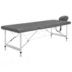stradeXL Stół do masażu, 4 strefy, rama z aluminium, antracyt, 186x68cm