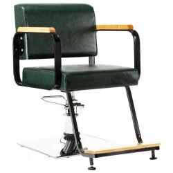 stradeXL Profesjonalny fotel barberski, zielony, sztuczna skóra