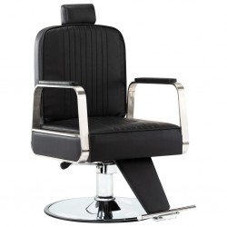 stradeXL Profesjonalny fotel barberski, czarny, sztuczna skóra
