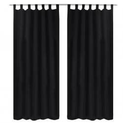 stradeXL 2 pcs Black Micro-Satin Curtains with Loops 140 x 225 cm
