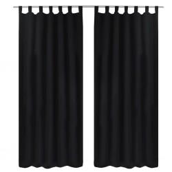 Czarne atłasowe zasłony z pętelkami 2 szt. 140 x 245 cm