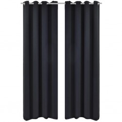 2 pcs Black Blackout Curtains with Metal Rings 135 x 245 cm