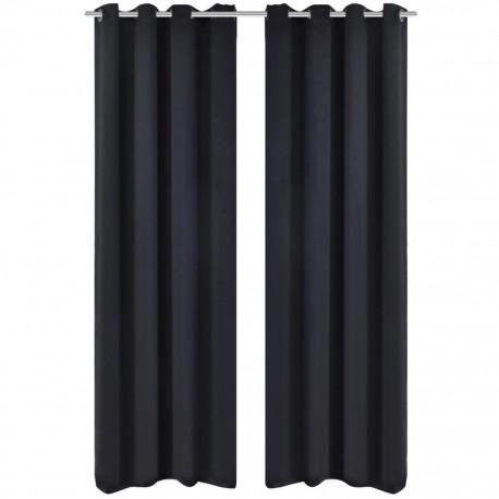 Czarne zasłony zaciemniające z metalowymi otworami x2 135 x 245 cm