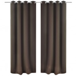 2 pcs Brown Blackout Curtains with Metal Rings 135 x 245 cm