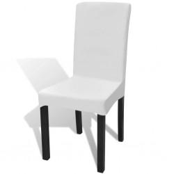 stradeXL Białe, rozciągliwe pokrowce na krzesła, 6 sztuk